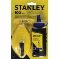 Stanley® 47-443 Chalk Box Set -  100 ft Line Length Polymer Line -  4 oz Chalk -  Sliding Door -  Folding Crank Handle