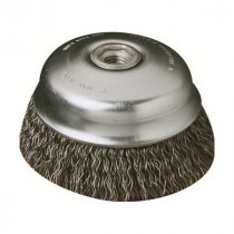 SAIT® 03501 Small Diameter Cup Brush -  2-3/4 in Dia -  5/8-11 -  0.02 in Carbon Steel Knotted Partial Twist Wire