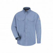 Bulwark®FR SMU2LB-RG-L Regular Length Dress Uniform Shirt -  Men -  L -  Light Blue -  48% Modacrylic/37% Lyocell/15% Aramid