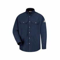 Bulwark®FR SMU2NV-RG-M Regular Length Dress Uniform Shirt -  Men -  M -  Navy -  47% Modacrylic/37% Lyocell/16% Aramid
