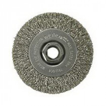 Weiler® 13081 Narrow Face Wire Wheel Brush With Nut -  4 in Dia x 1/2 in W -  5/8-11 UNC -  0.014 in Crimped Wire