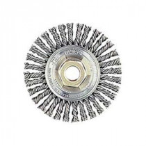 Mini Roughneck® 13138 Root Pass Wire Wheel Brush With Nut -  4 in Dia x 3/16 in W -  5/8-11 UNC -  0.02 in