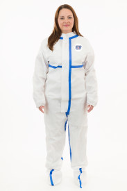 International Enviroguard ViroGuard® 2 White Coveralls, Boot Only, Elastic Wrist, Elastic Ankle, Front Zipper with Storm Flap, Thumb & Finger Loops, Taped Seams, Mandarin Collar, Tape around Wrist