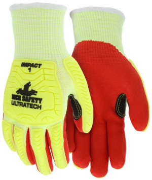 UltraTech™ Coated Knit Gloves, HV Lime HyperMax™ Shell, Impact Level 1
