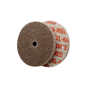 Scotch-Brite™ EXL High Performance Unitized Wheel 10 per PK -  3 in Dia x 1/8 in THK -  1/4 in -  Aluminum Oxide Abrasive