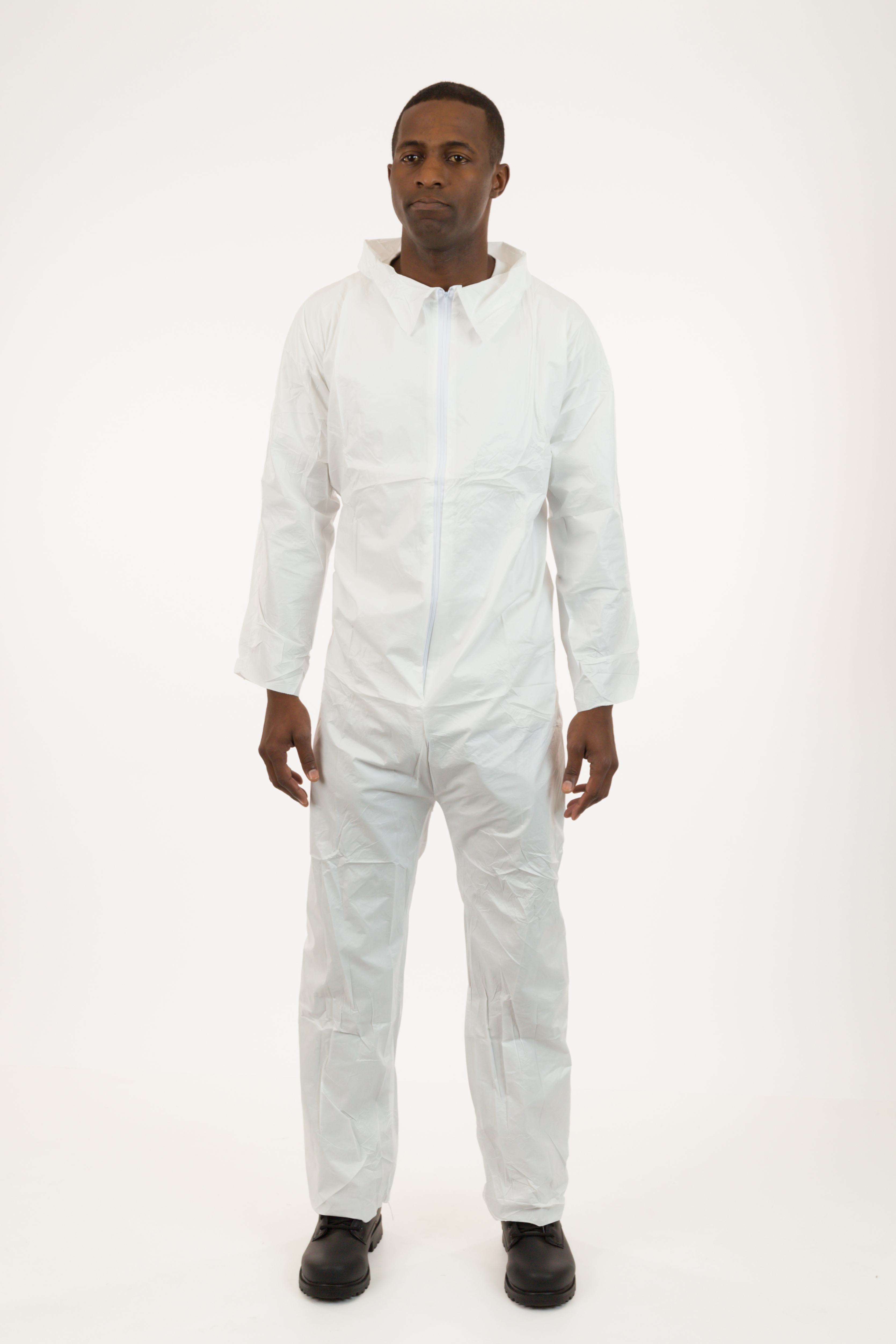 International Enviroguard - Heavyweight SMS Coverall, White, with Collar, Elastic Wrists, Open Ankle