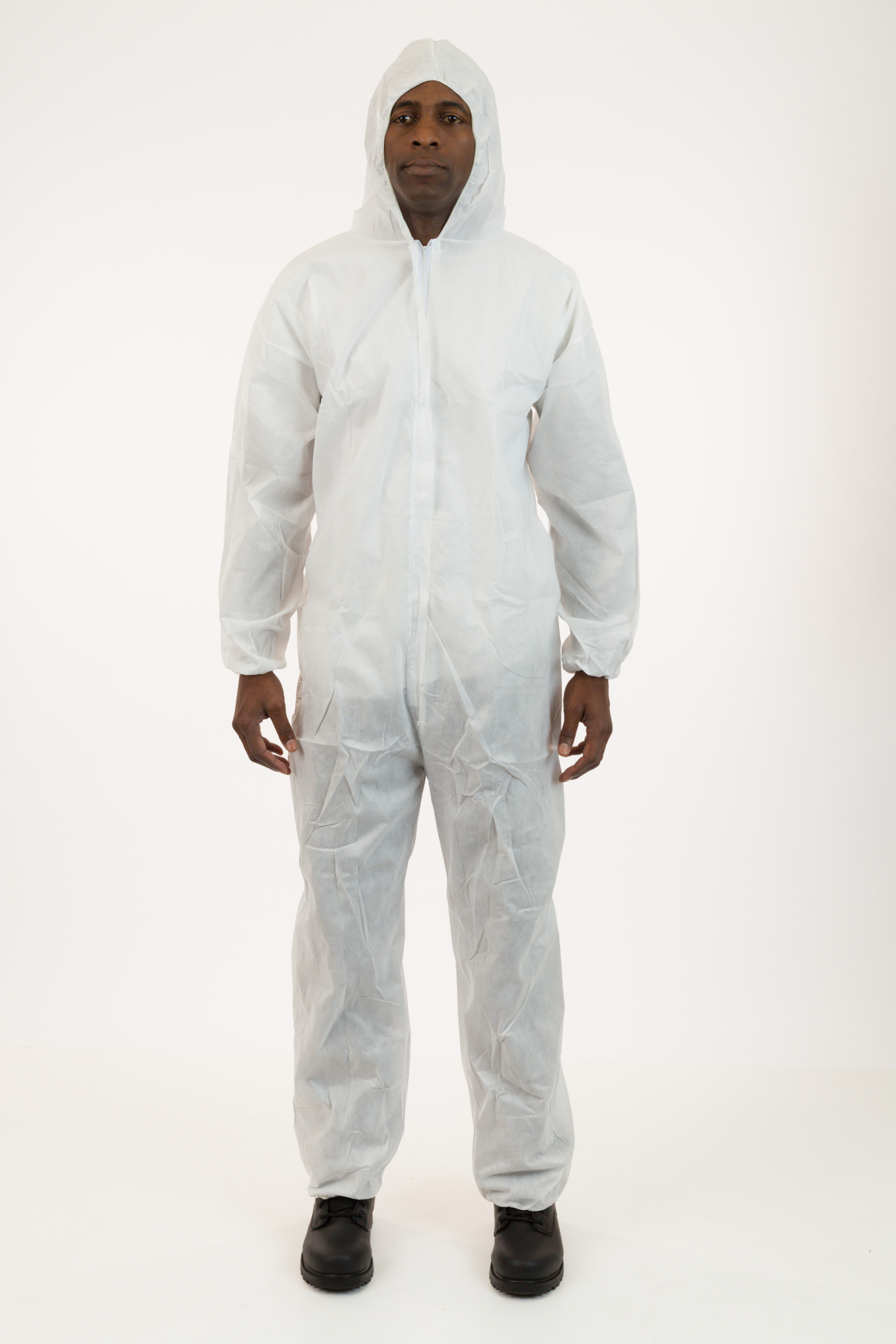 International Enviroguard - Heavyweight SMS Coverall, White, with Attached Hood, Elastic Wrist and Ankle