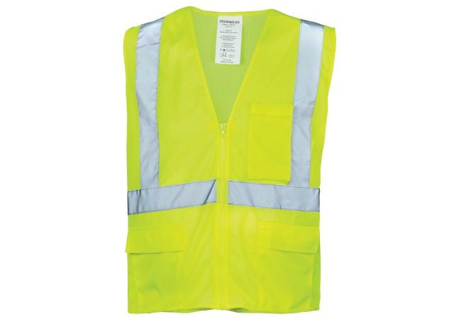 Ironwear® 1284FR-LZ Safety Vest, Class 2, Self Extinguishing, Lime, Zipper, XL