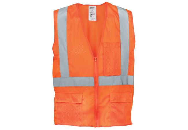 Ironwear® 1284FR-OZ Safety Vest, Class 2, Self Extinguishing, Orange, Zipper, LG