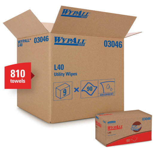 Wypall L40 Wipers White 9 bx of 90/cs