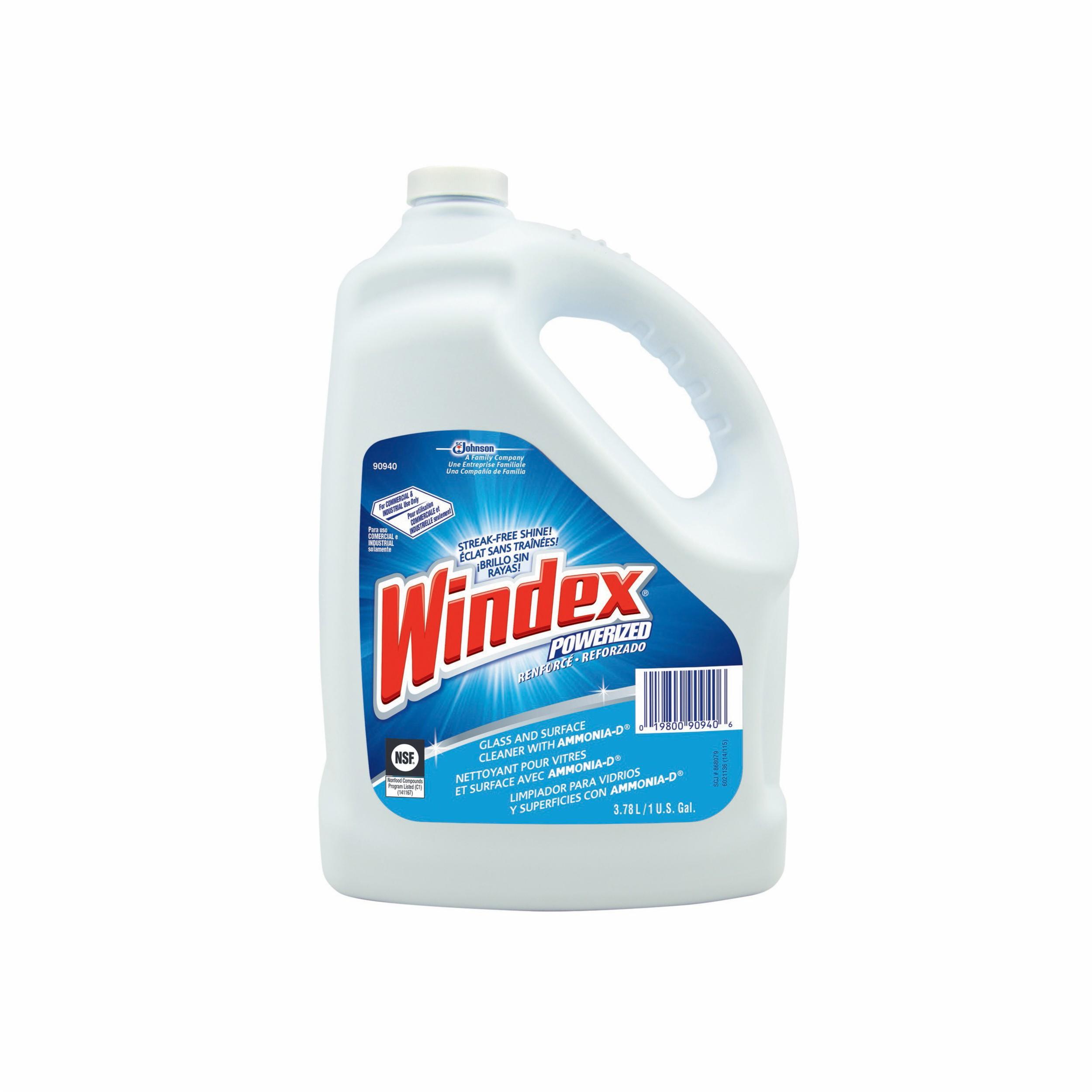 Windex® by Sealed Air 90940 Powerized RTU Glass Cleaner With Ammonia-D® -  1 gal Jug -  Liquid -  Clear Blue -  Ammonia