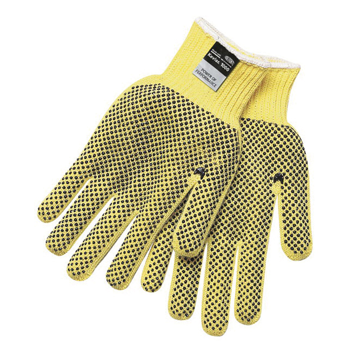 Memphis 9366 Regular Weight Cut-Resistant Gloves -  M -  PVC Palm -  Brown/Yellow -  Dots on Both Sides